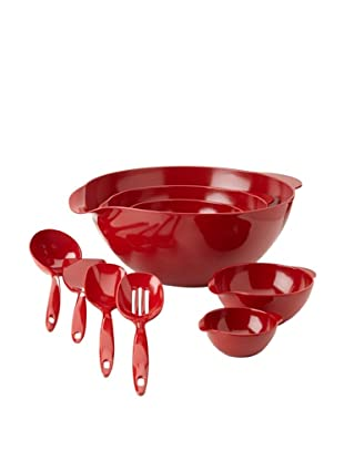 Reston Lloyd 5-Piece Bowl and 4-Piece Utensil Set (Red)
