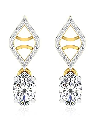 Diamant Vendome 0.06 Cts Diamond & 1.1 Cts White Sapphire Earring In 9Kt Yellow Gold (Gh Color, Pk Clarity) T12503Y/9/Ns/White Sapphire Yellow Gold