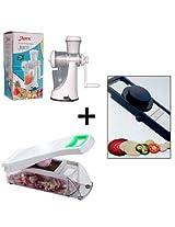 Combo of Branded Manual Juicer + Kitchen Master Vegetable Cutter + Adjustable Slicer