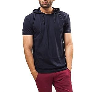 Unisopent Designs Men's Cotton T-Shirt(HOOD_NAVY_Navy Blue_XL)
