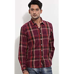 Allen Solly Blue Men Checks Cotton - Casual Shirts