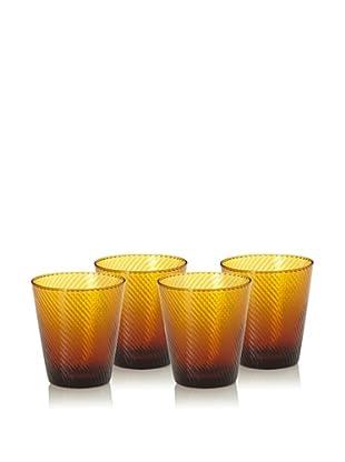 Set of 4 Roma Rocks Glasses (Amber)