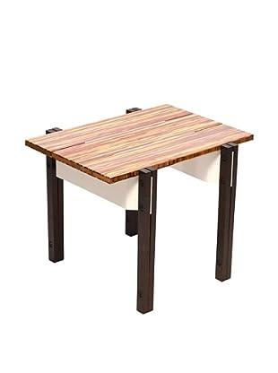 nine6 Design Neopolitan End Table, Bamboo/White