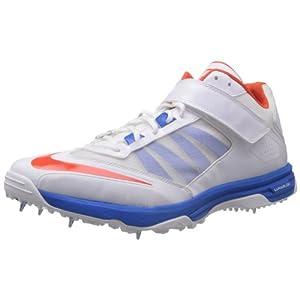 Nike Men's Lunar Accelerate White and Orange Cricket Shoes - 7 UK