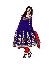 Khushali Women's cotton Unstitched Anarkali Salwar Suit (Blue)