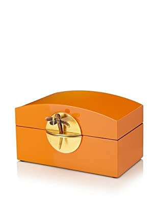 Mili Designs Lacquer Organization Box with Gold-Tone Lock (Orange/Gold)