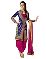 Blue color embroidered semi stitched punjabi salwar suit