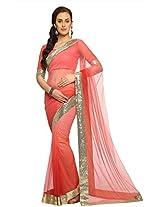 Peach Wedding Wear Saree Sequins Work Net Indian Sari EHS