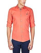 GHPC Men's 100% Cotton Casual Shirt(CS622513_44_Coral)