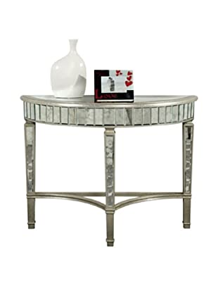Florentine Half Moon Table, Silver Leaf/Antique Mirror