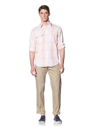 Perry Ellis Men's Gingham Plaid Shirt (Bright White)