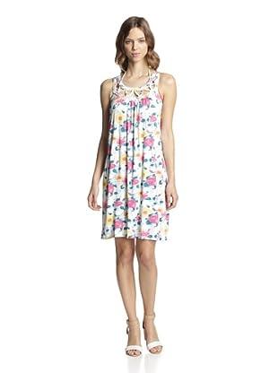 Valery Blu Women's Halter Beach Dress (Yellow/Floral)