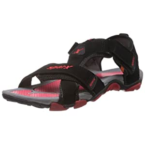 Sparx Men's Black and Red Sandals and Floaters - 10 UK (SS-416)