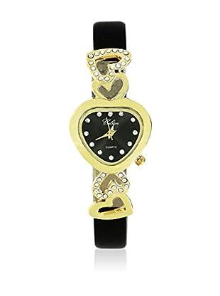 SHINY CRISTAL Uhr mit Japanischem Quarzuhrwerk  gold/schwarz