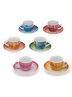 Tognana Set 6 Tazze Caffè+Piatto Iris multicolore