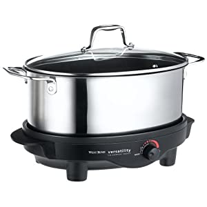 West Bend 84866 6-Quart Versatility Slow Cooker with Glass Cover, Stainless
