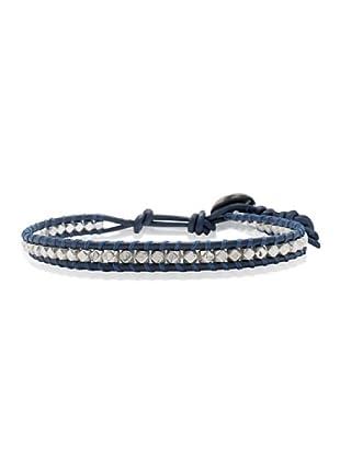 Lucie & Jade Echtleder-Armband Metallbeads blau/silber