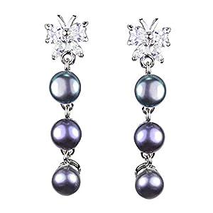 Pearl Paradise Black Pearl Cz Silver Earring