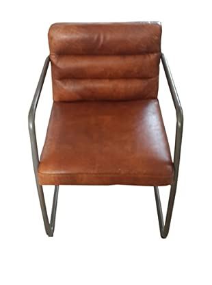 Mélange Home Westport Channel Leather Chair, Light Whiskey Brown