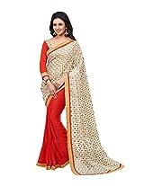 Red Party Wear Saree Indian Pakistani Wedding Sari
