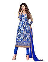 Suchi Fashion Embroidered Blue & Beige Cotton Dress Material