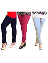 Lux Women Cotton Leggings -Navy Blue, Rani, Sky Blue -Free Size (Set Of Three) L 30 33 22