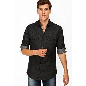 Solid Black Denim Shirt