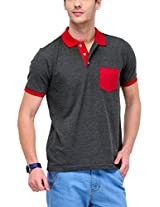 Yepme Men's Grey Polo Cotton T-shirt -YPMPOLO0116_S