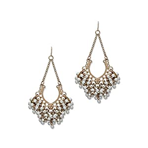 Fancy Golden Earrings with Pearls