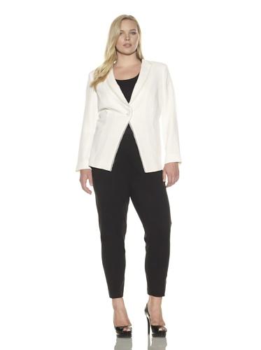 Z from Zenobia Women's Plus Georgette-Trimmed Shawl Collar Blazer (Ivory)