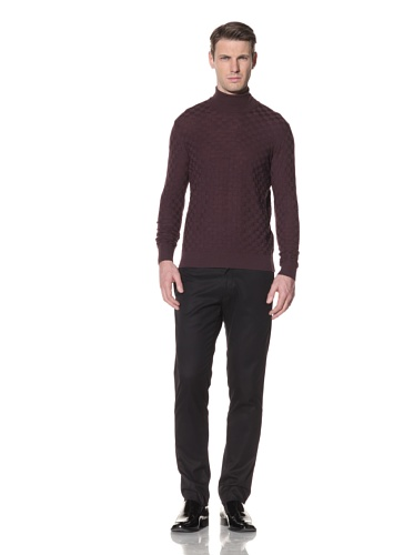 Halston Men's Wool Basket Weave Knit Turtleneck (Aubergine)