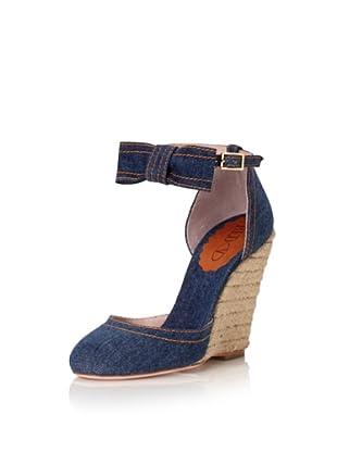 Red Valentino Women's Denim Bow Wedge (Blue Denim)