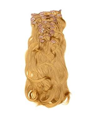 Love Hair Extensions Haarverlängerung Komplett-Set Silky Straight Thermofaser, 45,7cm, 10 Haarteile, Rich Blonde