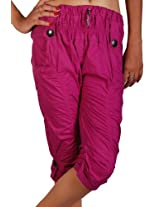 TeeMoods Women's Cotton Strong Trendy Capri(TM-7357_Violet_Large)