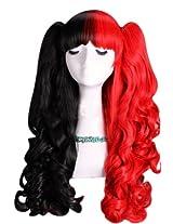 "60cm 24"" Wavy Red & Black Half Half Lolita Wig + 2 Clip On Ponytails"