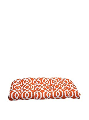 Pillow Perfect Outdoor New Geo Wicker Loveseat Cushion, Orange
