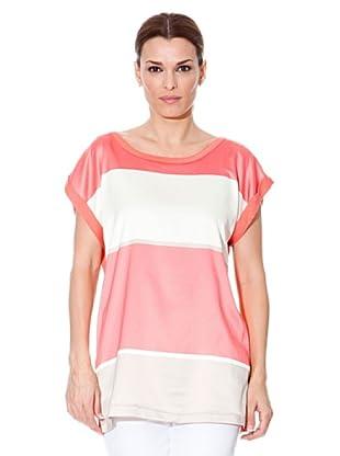 Cortefiel T-Shirt Streifen (koralle/weiß/grau)