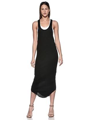 Crema Vestido Largo Espalda Olímpica (Negro)