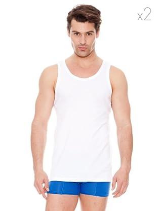 DIM Camiseta Pack 2 Camiseta Sport Tirante Ancho (Blanco)