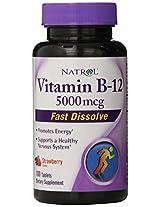 Natrol Vitamin B-12 Fast Dissolve Strawberry 5000 mcg - 100 Tablets
