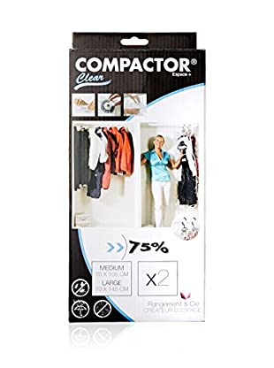 Compactor Set of 2 Clear Hanging Vacuum Storage Bags with Hooks