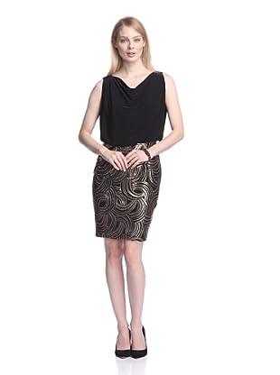 Chetta B Women's Drape Neck Dress with Sequined Skirt (Black/Gold)