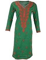 PR Chikans Women's Cotton Kurti (Green, Medium)