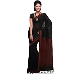 Black Bengal Handloom Pure Cotton Saree with Blouse