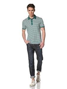 Benson Men's Short Sleeve Stripe Polo (Green/Ecru)