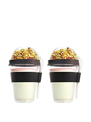 asobu Set of 2 YO2GO Yogurt Containers, Black