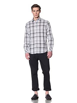JAMES CAMPBELL Men's Gene Plaid Long Sleeve Shirt (Cement)