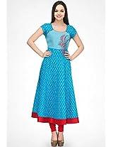Aqua Blue Printed Anarkali