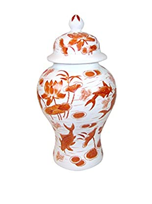 Asian Loft Lidded Ceramic Pot with Hand-Painted Koi, Orange/White