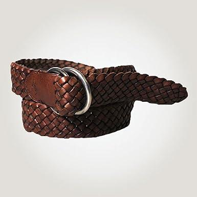 ポロラルフローレン 正規品 ベルト Mesh Leather Ring Belt ブラウン XS 並行輸入品